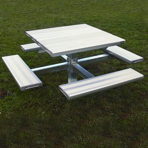 Four Sided Pedestal Picnic Table Aluminium