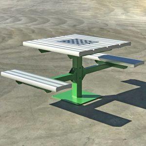 Pedestal picnic table with aluminium tops