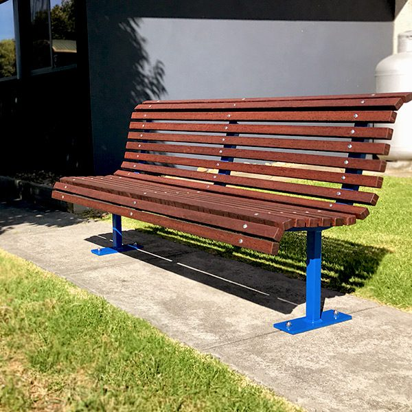 Curved Park Seat with timber battens, powdercoated frames
