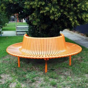 Semi-Circular Seat Steel Slatted Seat with Back