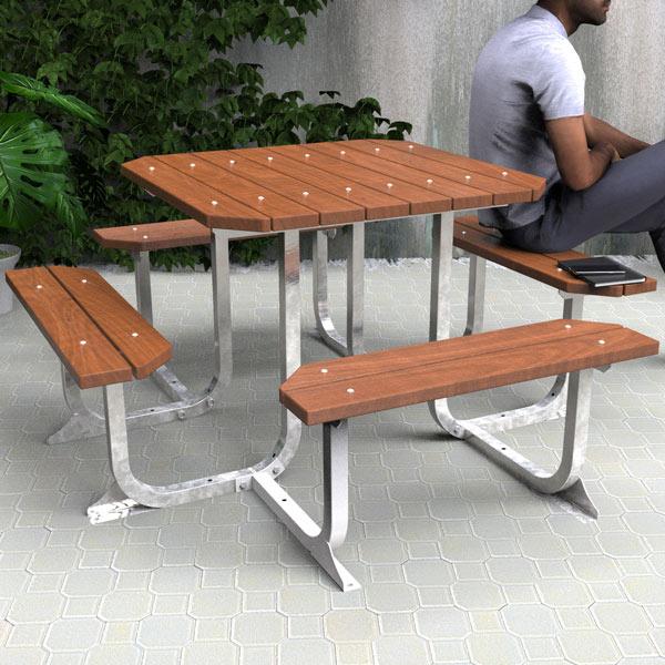 Square picnic table setting