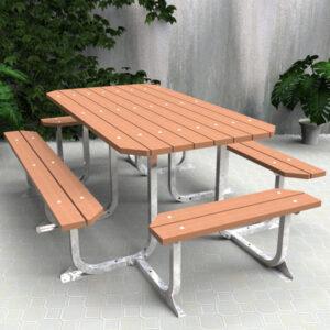 Large picnic table setting