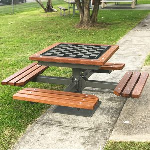 Deluxe outdoor chess table setting