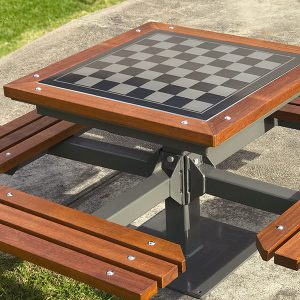Heavy duty outdoor chess table setting