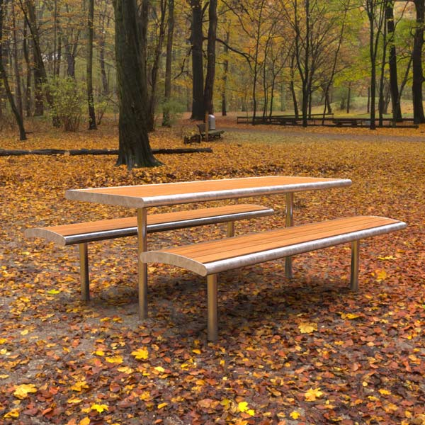 Monbulk Table setting, Spotted Gum and Galvanised Mild Steel