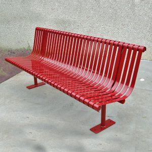 All steel slatted park seat