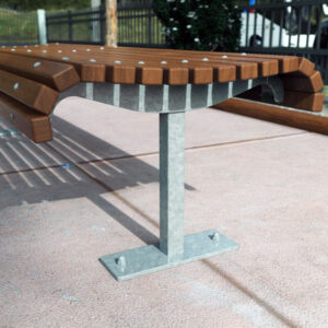 Park bench with curved profile for comfort