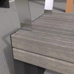 Custom Park Bench, Powdercoated Frames, Timber-Look Battens
