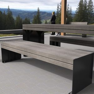 Park Bench, Powdercoated Frames, Timber-Look Battens