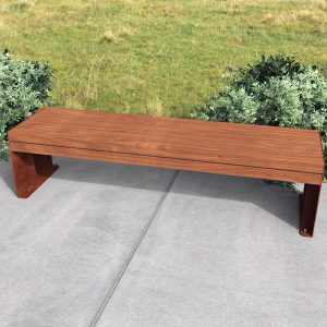 Commercial Outdoor Bench, Spotted Gum Battens, Weathering Steel Frames