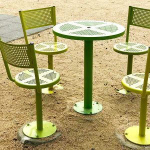 Perforated Metal Cafe Table and Chairs/Stools