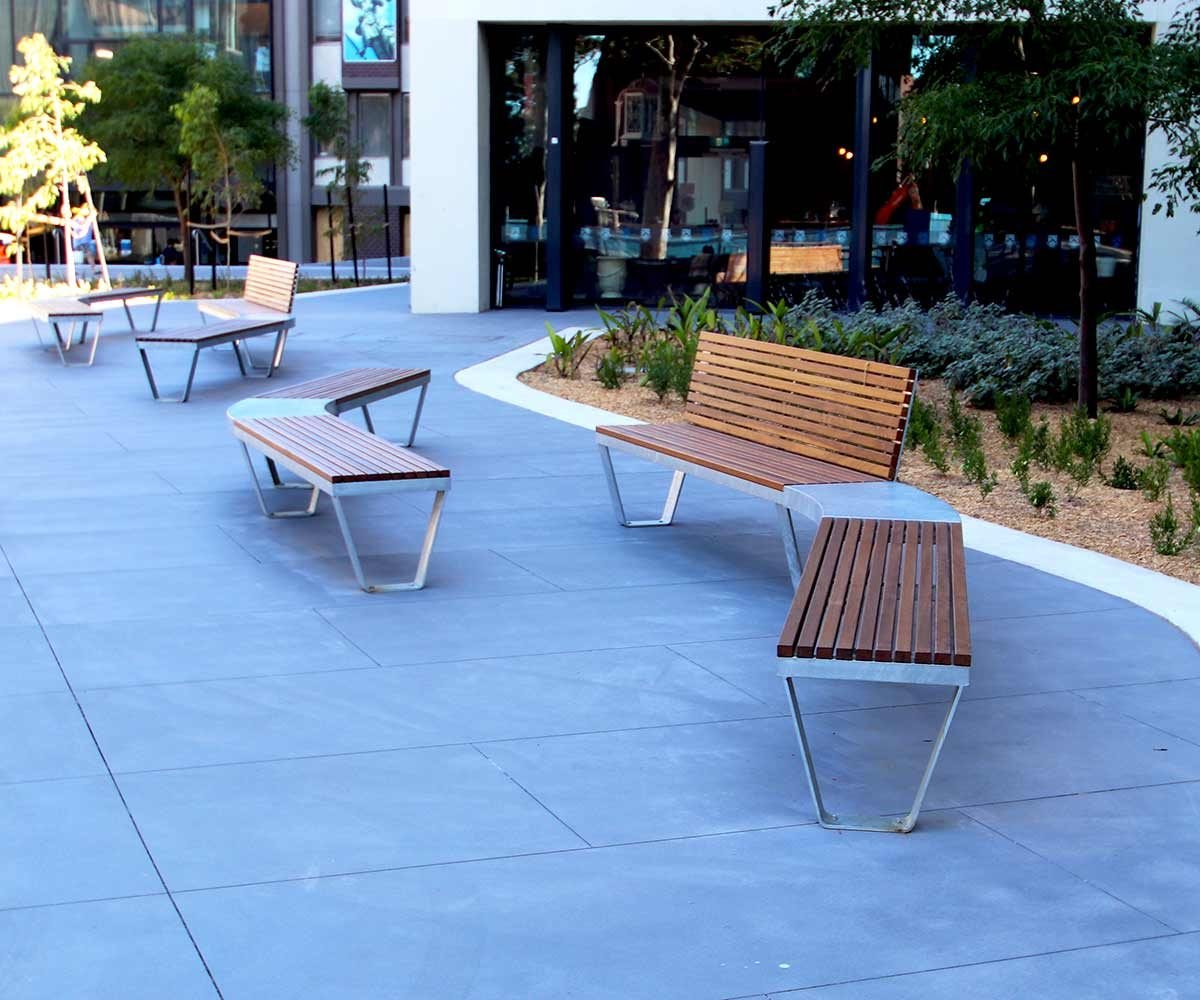 Curved timber and mild steel bench seating