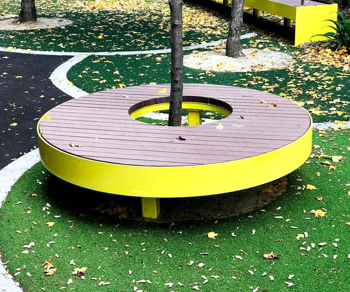Composite and powder coated steel seating