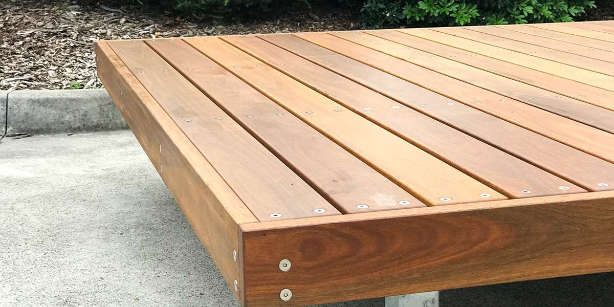 Avalon platform bench made from timber material