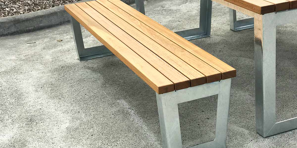 Galvanised metal table and seat frames
