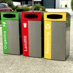 Infinity series bin surrounds with waste separation signage