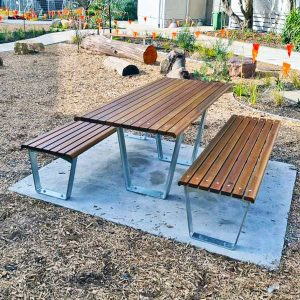 Picnic Table, Spotted Gum and Galvanised Mild Steel Frames