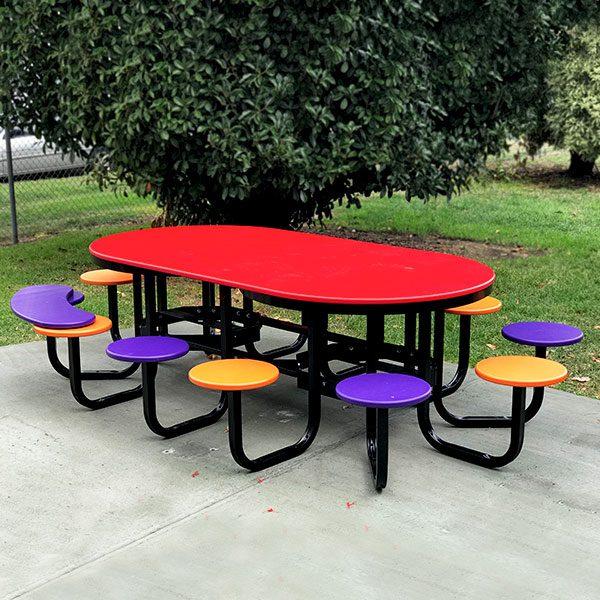 Twelve Seat Satellite Cafe Table Setting