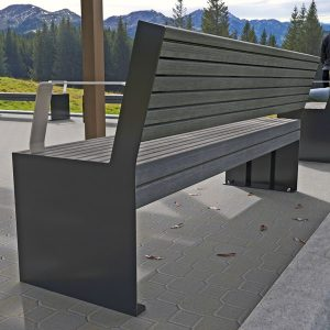 Hobart Park Seat with Back Alpine Ash Timber-Look Aluminium