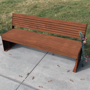 Hobart Park Seat with Back Weathering Steel and hardwood
