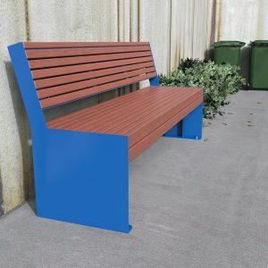 Hobart Park Seat with Back Powdercoated Mild Steel and Enviroslat Battens