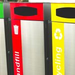Triple bay rubbish bins with curved covers