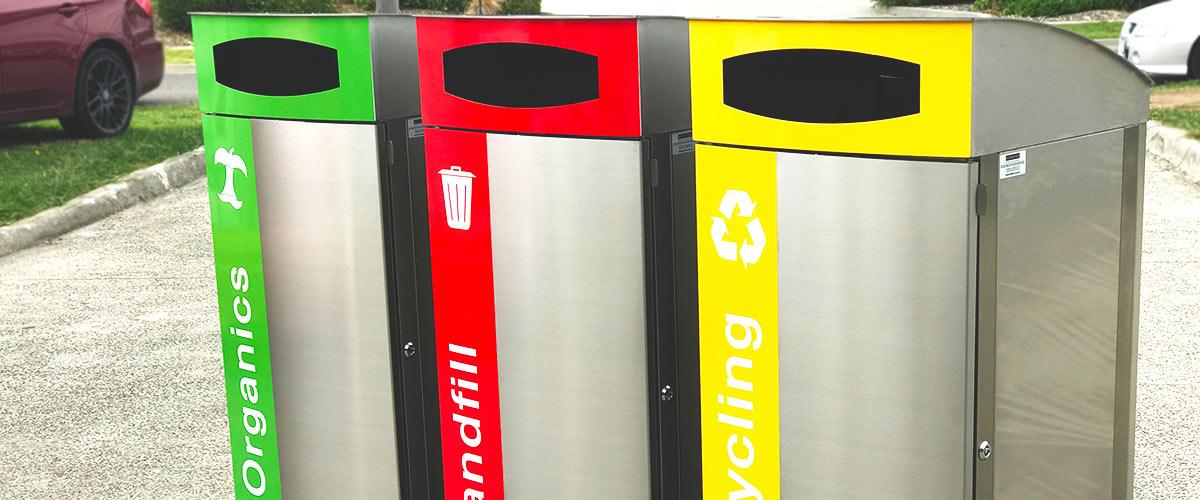 Triple bay rubbish bin