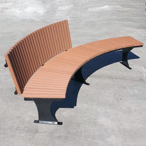 Curved outdoor bench, Enviroslat battens, fin legs