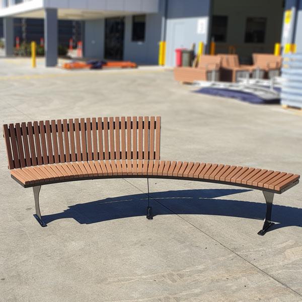 Curved bench, Enviroslat battens, fin legs