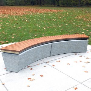 Curved Bench Seat, spotted gum, powdercoated frame and grey plinth