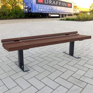 Park Bench with powdercoated frame, spotted gum battens
