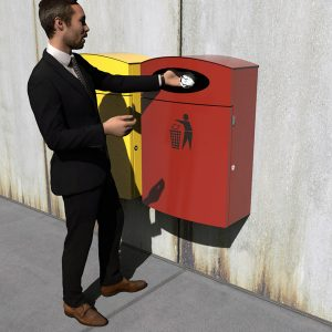 Wall mount rubbish bin with liner