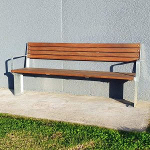 Commercial outdoor seat with back, spotted gum, galvanised frames