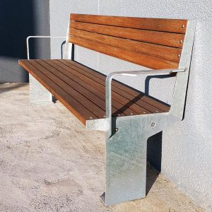 Heavy duty park seat, spotted gum battens and galvanised mild steel frames