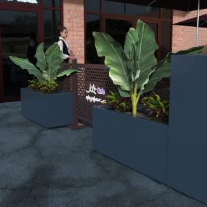 Hamilton Planter Barriers and Aluminium Cafe Barriers