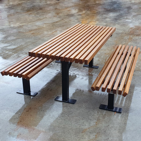 Knox Table Setting, timber tops, powdercoated and galvanised mild steel frames
