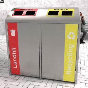 Domed Dual Bay rubbish bin enclosure