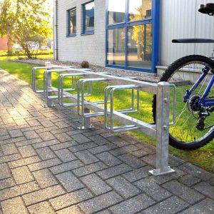 Double sided 5 bay bike rack