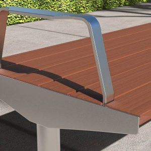 Custom Stainless Steel and Modwood park Bench