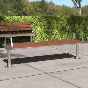 Park Bench with Modwood battens Stainless steel frame