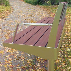 Stainless steel seat, Modwood battens