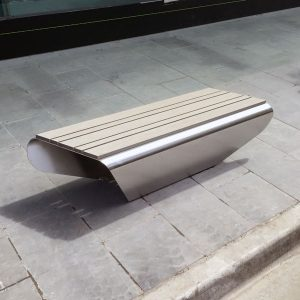 Stainless steel bench with composite battens