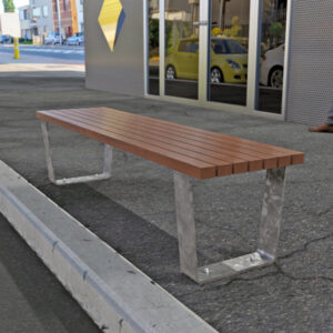 Bench with Spotted Gum Battens, Mild steel galvanised frame