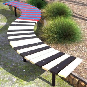 Curved park Bench, HDPE tapered battens, powdercoated frame