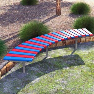 Curved bench, Recycled Plastic Battens, galvanised mild steel frame