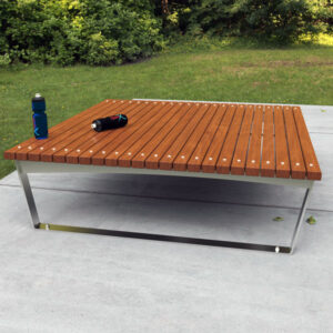 Stainless steel frames with Spotted Gum Battens